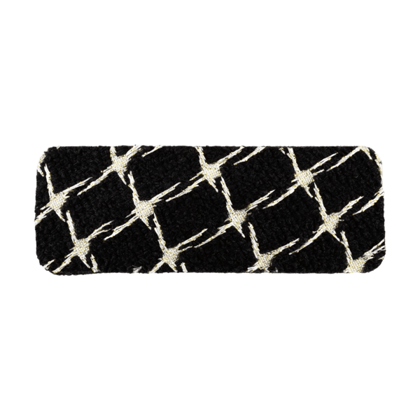Clip tweed rectangular negro y dorado